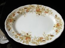 VINTAGE RIDGWAY IRONSTONE ANTIQUE ROSE 4123 OVAL PLATTER WITH SCALLOP RIM 12.25""